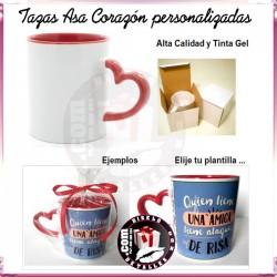 Taza con Asa Corazon Sublimada y Personalizada