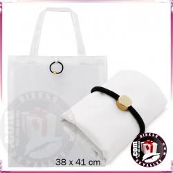 Bolsa Poliester Blanca Plegable con Goma Vera 38 x 41 cm