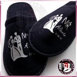 Zapatillas Rizo  Negras para Bodas