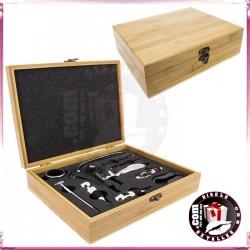 Caja Bambú Set Vino 10 Pcs