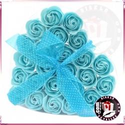 Conjunto de 24 Flores de Sabonetes Azuis