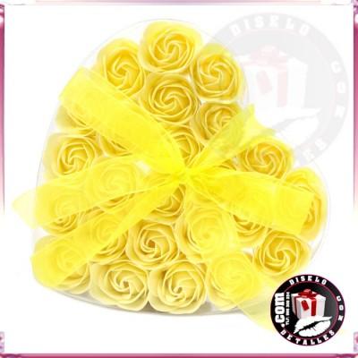 Set de 24 Flores de Jabón Amarillas