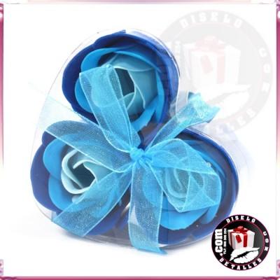 Set de 3 Flores de Jabón Azules