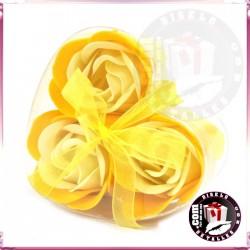Conjunto de 3 Flores de Sabão Amarelas