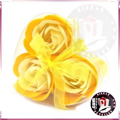Set de 3 Flores de Jabón Amarillas