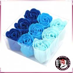 Conjunto de 9 Flores Azuis de Sabão