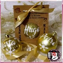 Bolas de Navidad Doradas de 6 cm personalizadas
